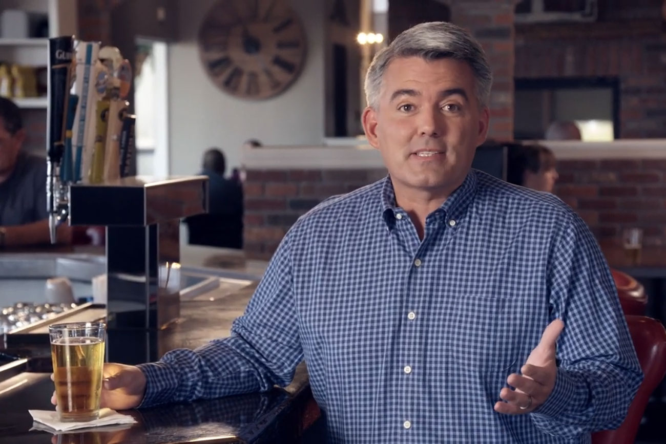 "A screencap still from a Cory Gardner 2020 Senate race political ad titled ""Beer."""