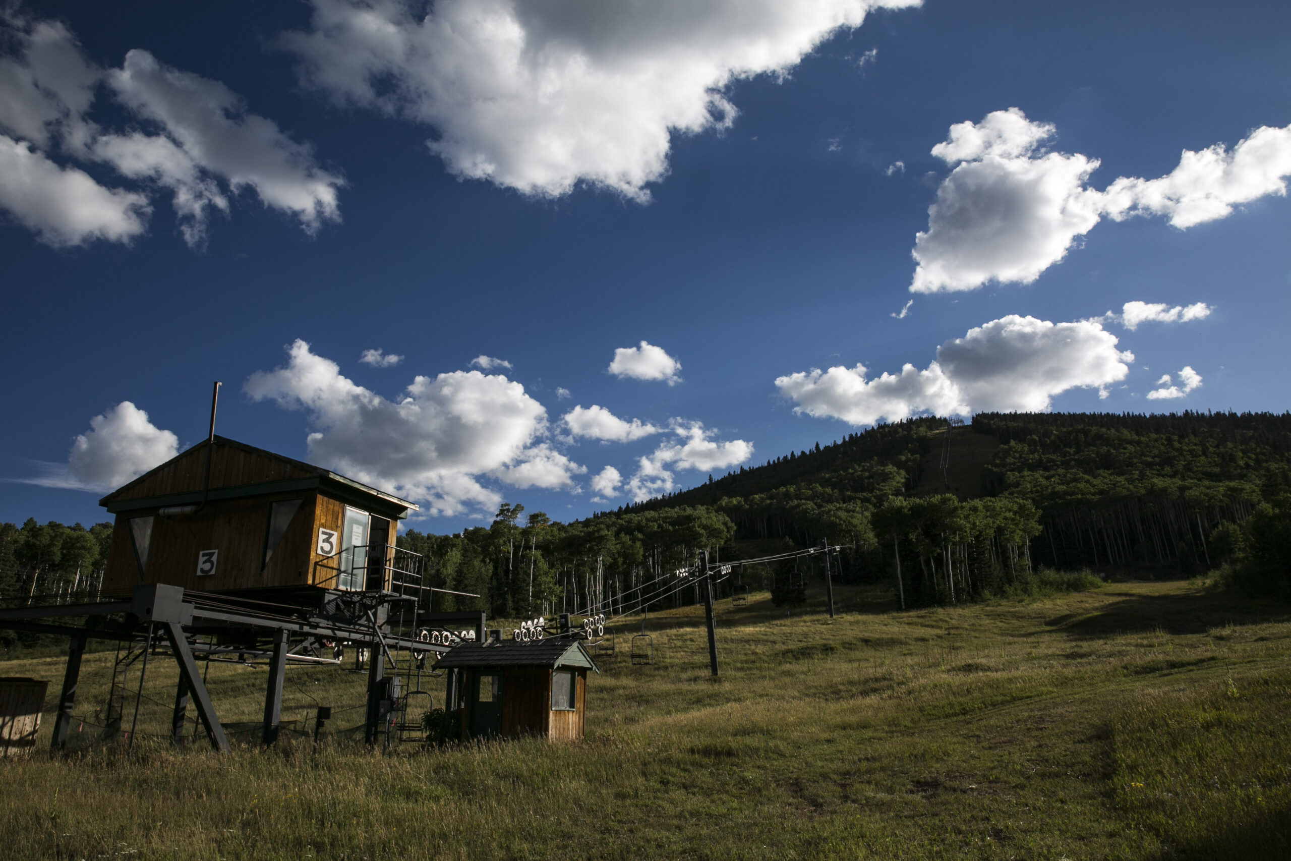 A lift at the old Cuchara Mountain ski area in Southern Colorado in August 2018.