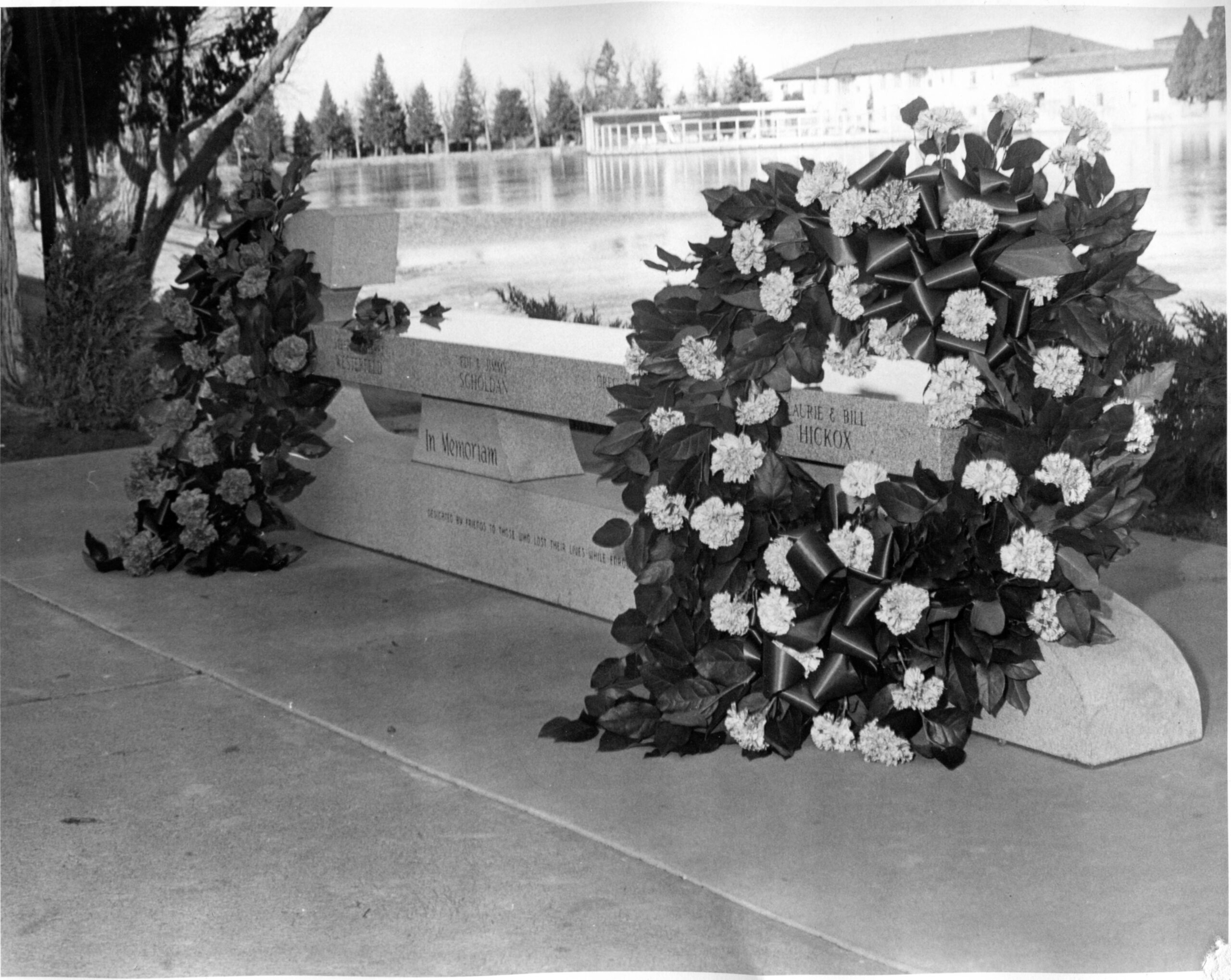 A bench at the Broadmoor hotel in Colorado Springs in 1961, honoring the lives lost in the 1961 plane crash that killed all members of the US Olympic Figure Skating Team.