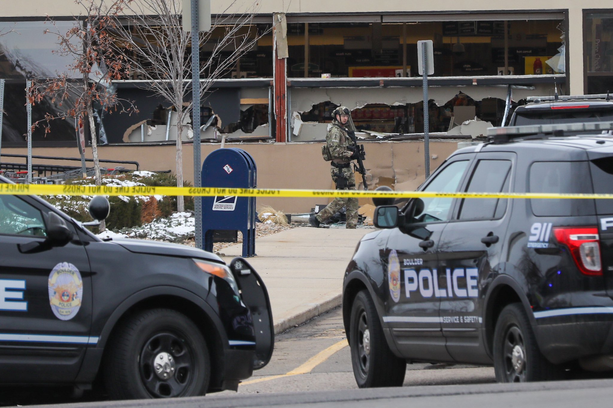 The front windows of the King Soopers on Table Mesa in south Boulder are smashed in, after reports of an active shooter inside on Monday, March 22, 2021