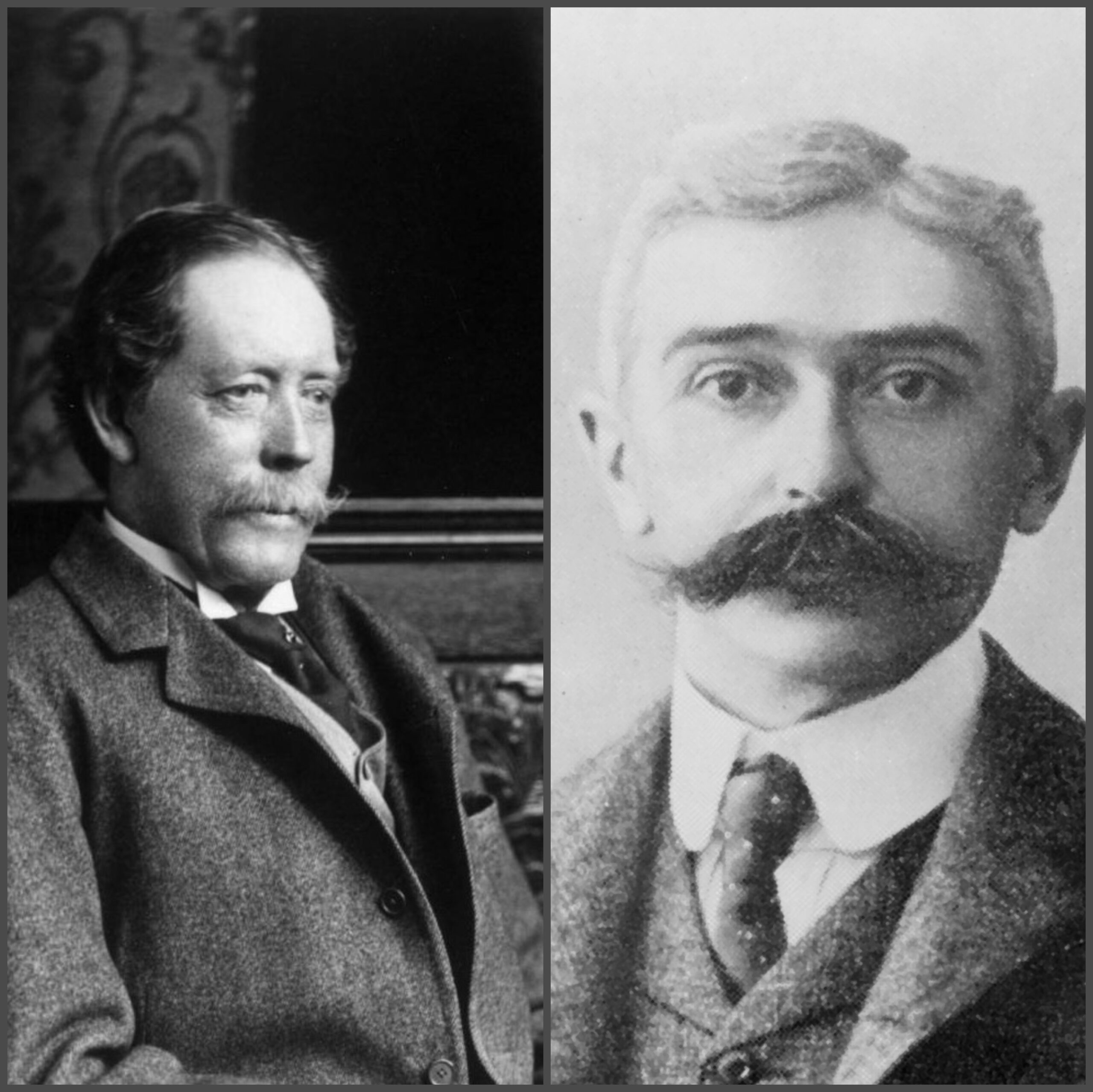 William Jackson Palmer (left) founded Colorado Springs.  Pierre de Coubertin (right) is the founder of the International Olympic Committee.