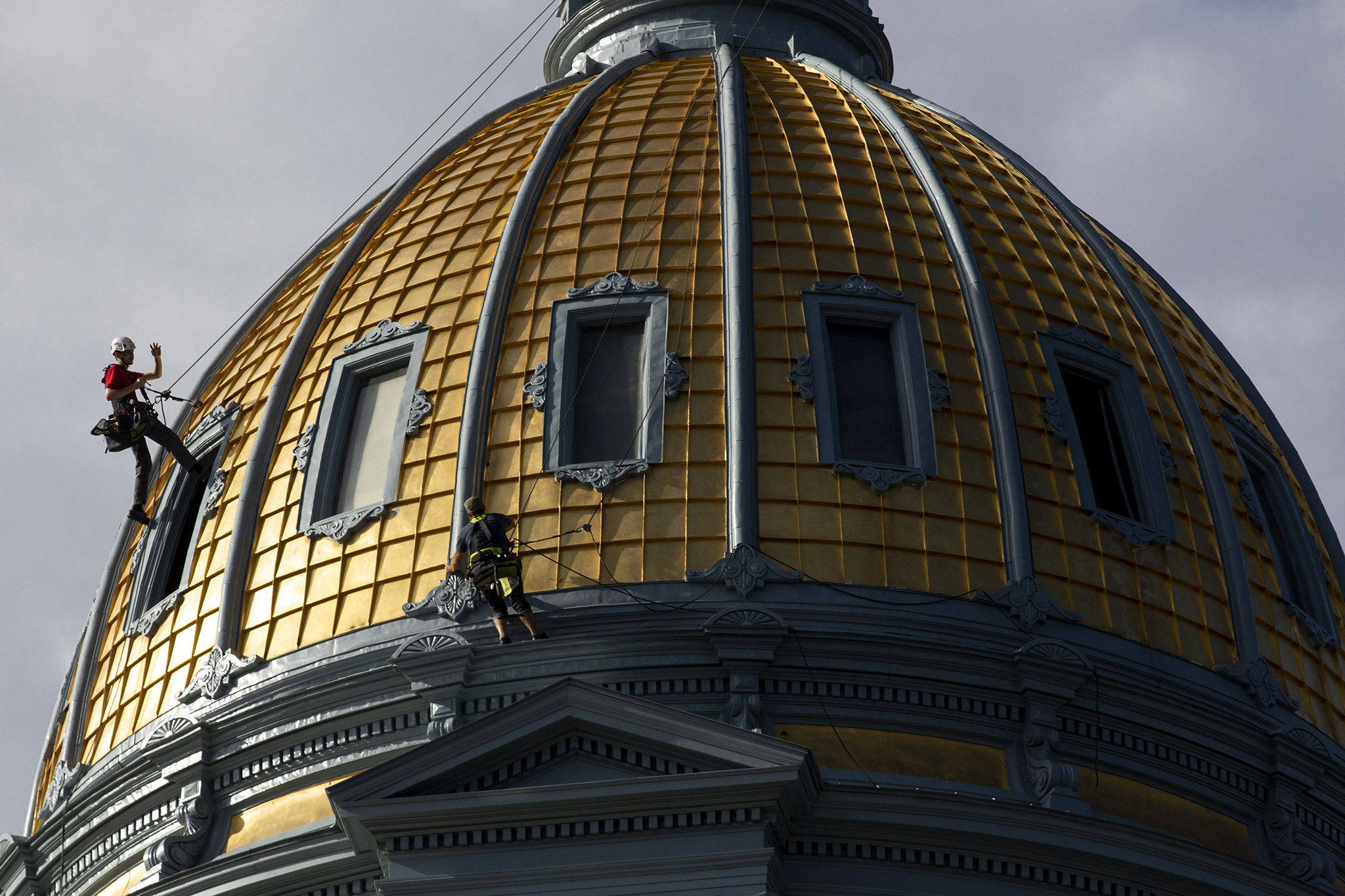Nothing to see here, just a couple of guys rappelling off the gold dome. June 24, 2021.