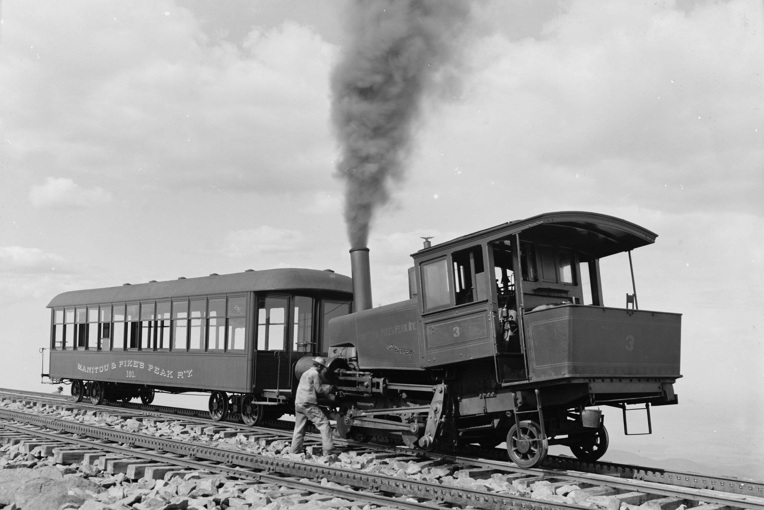 The Pikes Peak Cog Railway at the summit of America's Mountain circa 1901-1906.