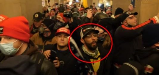An image of Timothy Wayne Williams in the U.S. Capitol on January 6. Williams is circled in red.