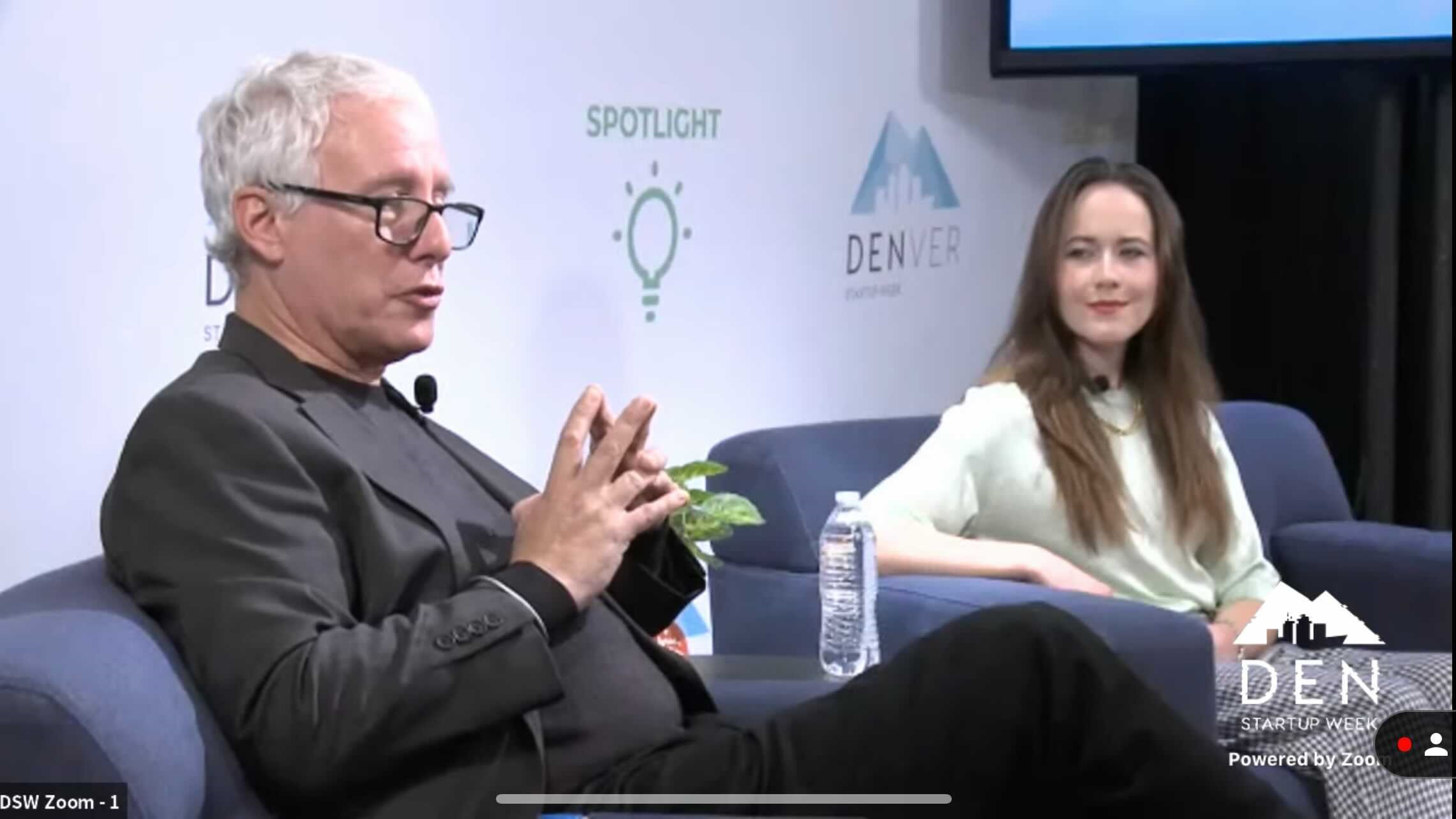 David Brancaccio,  host of the Marketplace Morning Report from American Public Media, talks with Colorado Matters host Avery Lill about jobs and automation at Denver Startup Week, October 7, 2021.
