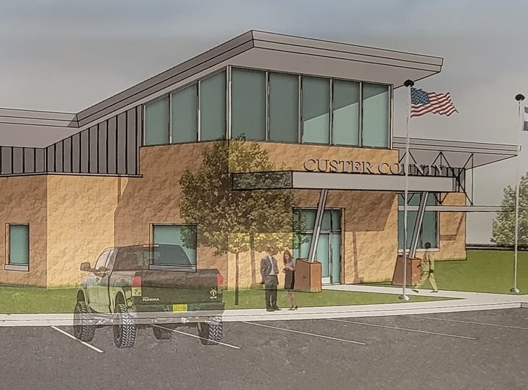 Artist's rendering of the proposed Custer County Justice Center.