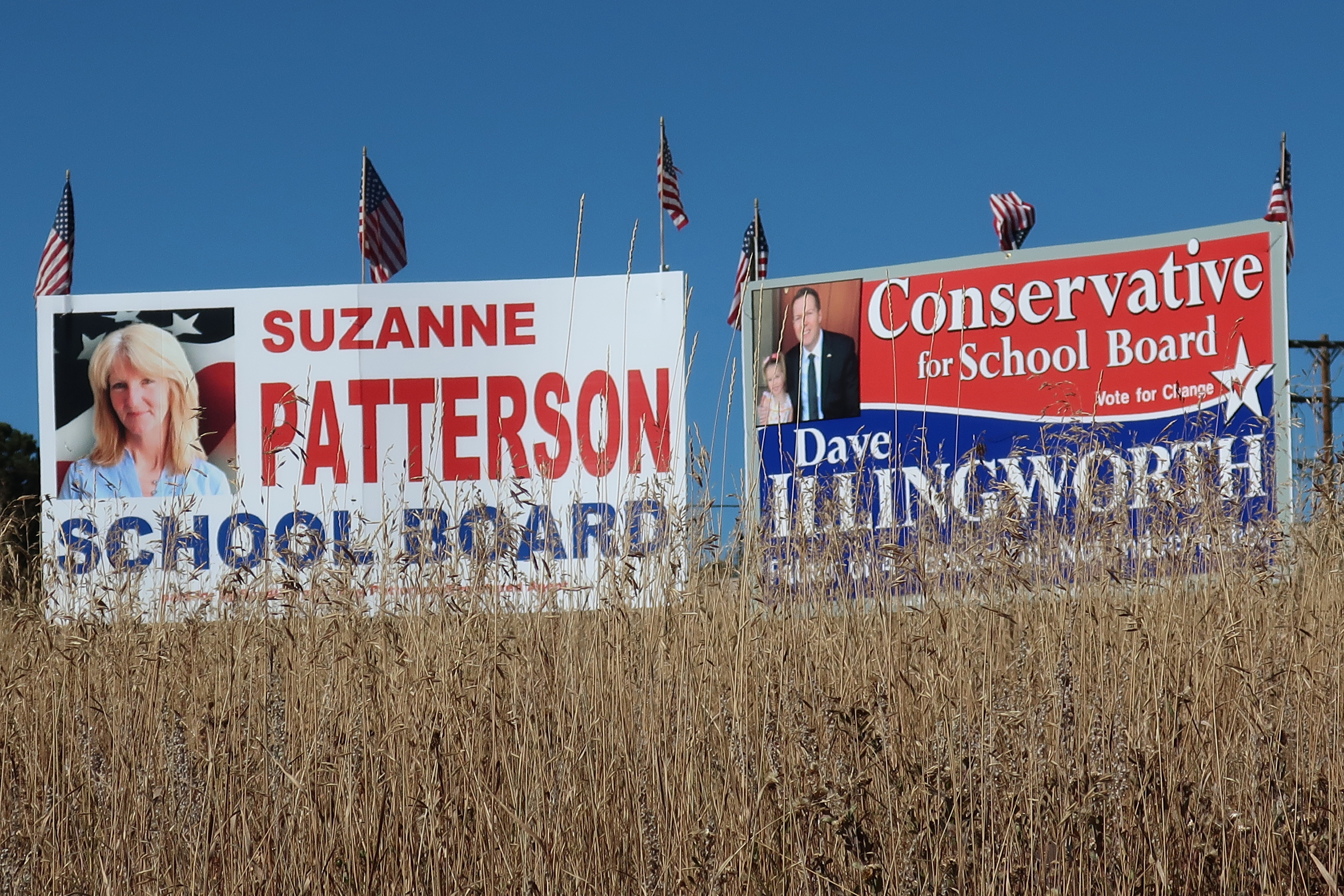 """Campaign signs in Woodland Park in Teller County often label certain candidates as """"conservative."""" There has been an increase in overt politicization of traditionally nonpartisan school board races. The Teller County Republican Party has donated to four candidates on one of the slates."""