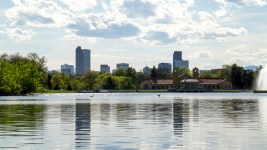 Scenes from City Park.  ciytscape; skyline; city park; lake; goose; geese; denverite; denver; colorado; kevinjbeaty