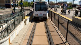An RTD train parked at the end of the line in Five Points.  train; rtd; rail; transportation; denverite; denver; colorado; kevinjbeaty