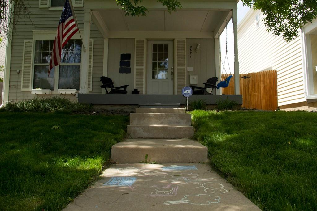 Angie Bonato's home and chalk-covered walk in the West Highlands. (Kevin J. Beaty/Denverite)  residential; homes; houses; highlands; three bedroom; denver; colorado; denverite;