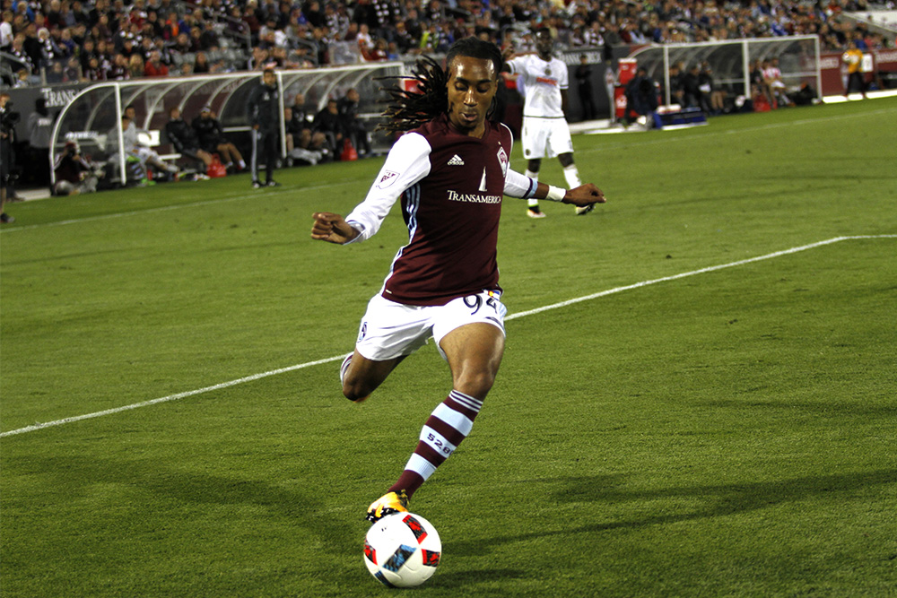 Marlon Hairston sprints over to the ball during the Colorado Rapids v Philadelphia Union game on May 28, 2016 at Dick's Sporting Goods Park. (Jessica Taves/Denverite)  soccer; futbol; marlon hairston; rapids; commerce city; denverite; denver; jessica taves; colorado; sports;