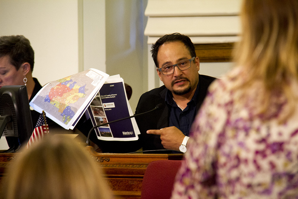Denver City Councilman Rafael Espinoza at a meeting. (Kevin J. Beaty/Denverite)