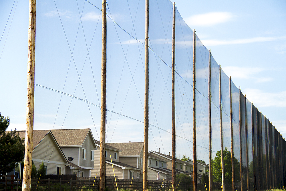 Homes sit behind a screen protecting them from stray balls hit at the Park Hill Golf Course. (Kevin J. Beaty/Denverite)