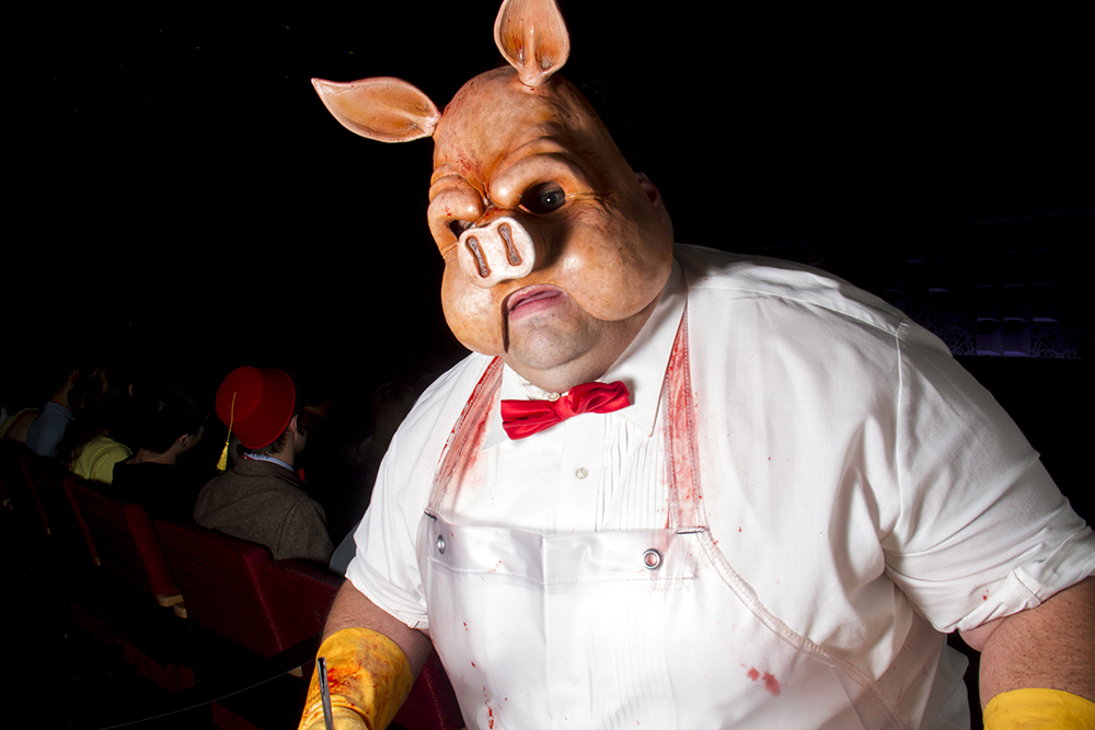 Professor Pyg, enemy of Batman and leader of the Circus of Strange, spotted at the Comic Con Cosplay Shindig on June 18, 2016. (Kevin J. Beaty/Denverite)  denver comic con; convention center; denver; colorado; denverite; kevinjbeaty