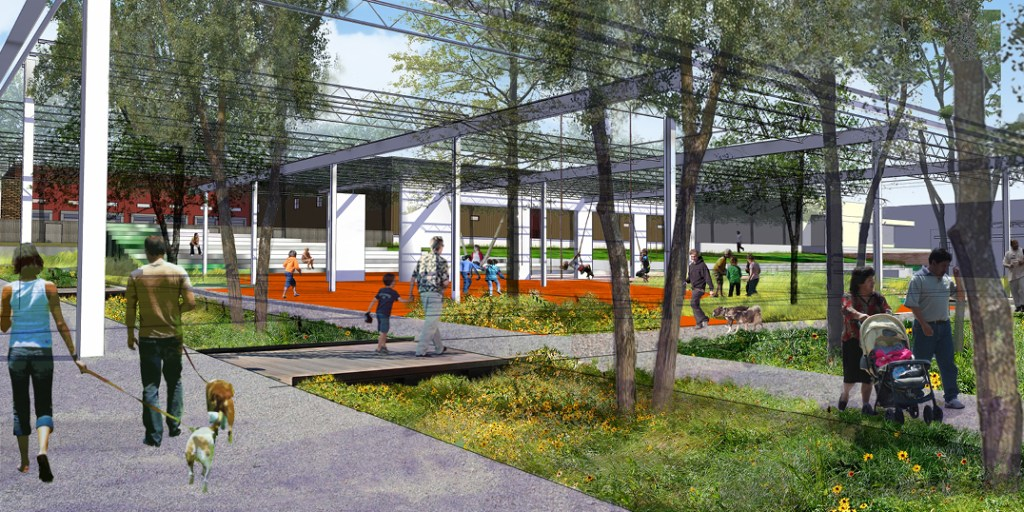 Rendering of future River North Park from Wenk Landscape Architecture.