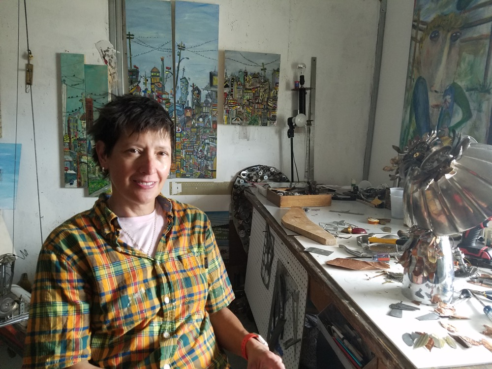 Lori Owicz in her studio at The Temple in Curtis Park.