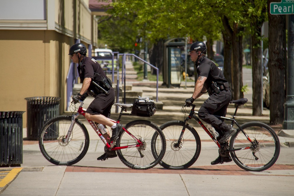 Denver Police Department officers travel in pairs.