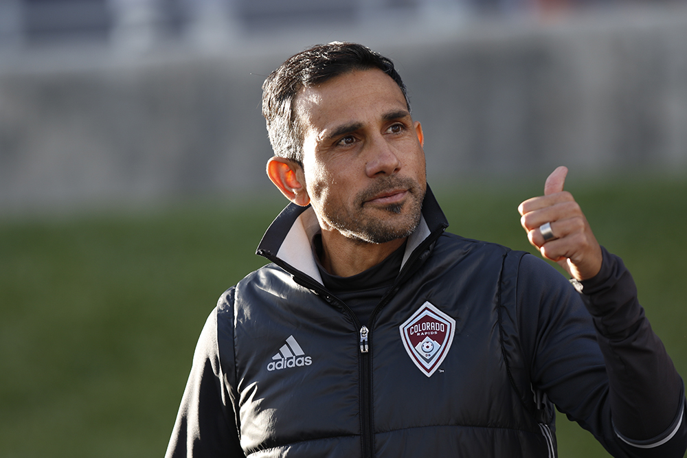 Colorado Rapids coach Pablo Mastroeni gives thumbs up to fans as he enters Dick's Sporting Goods Park during the matchup against Philadelphia Union on May 28, 2016. Rapids tie 1-1. (Jessica Taves/For Denverite)   sports; denver rapids; soccer; dicks sporting goods park; commerce city; jessica taves; denverite; denver; colorado