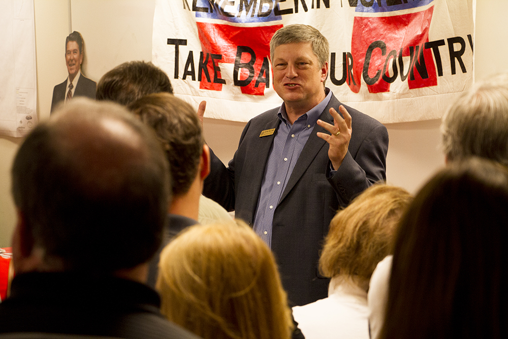 Colorado Secretary of State Wayne Williams at a meeting calling for unity among the Republican Party at the Jefferson County Republican Party headquarters on July 9, 2016. (Kevin J. Beaty/Denverite)  Wayne Williams; jefferson county republicans; politics; election; vote; denver; denverite; kevinjbeaty; colorado;