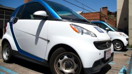 A Car2Go station in the Golden Triangle. (Kevin J. Beaty/Denverite)  car2go; transportation; kevinjbeaty; denver; denverite; colorado;