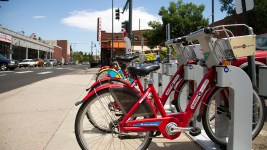 A B-Cycle station on 13th in Capitol Hill. (Kevin J. Beaty/Denverite)  b-cycle; bike; bicycle; transportation; denver; colorado; kevinjbeaty; denverite