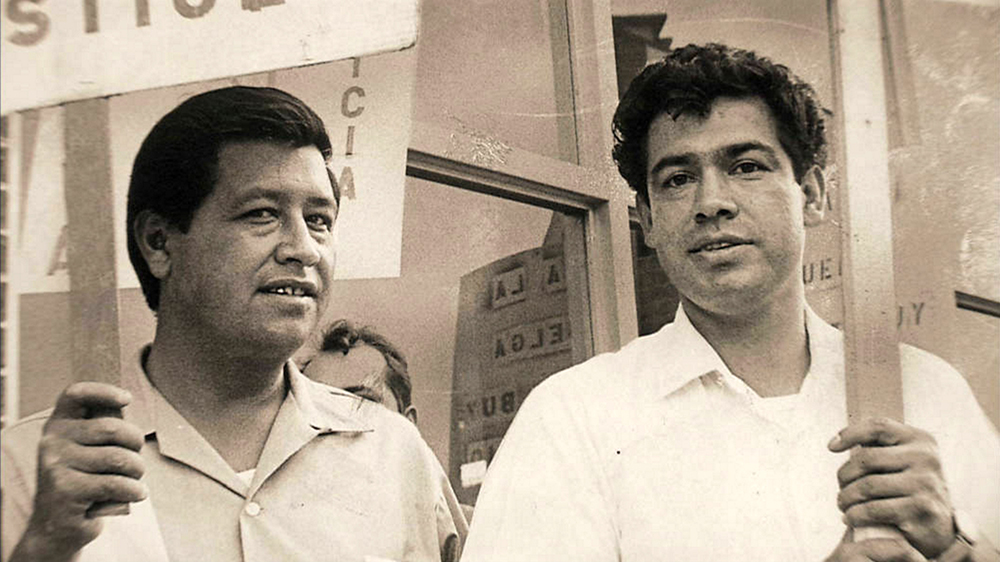 """""""Former boxer Rodolfo (Corky) Gonzales, right, with Cesar Chavez, formed the Crusade for Justice in 1966."""" (KRMA/Denver Post/Denver Public Library/Western History Collection/X-RMN-049-9397)  corky gonzales; cesar chavez; crusade for justice; protest; historic; archival; archive; denver public library; dpl; denverite; denver post;"""