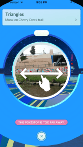 A Pokestop along Cherry Creek in Denver, as shown in the app Pokemon Go.