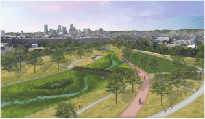 A rendering of the proposed redesign of Globeville Landing. Courtesy City of Denver.