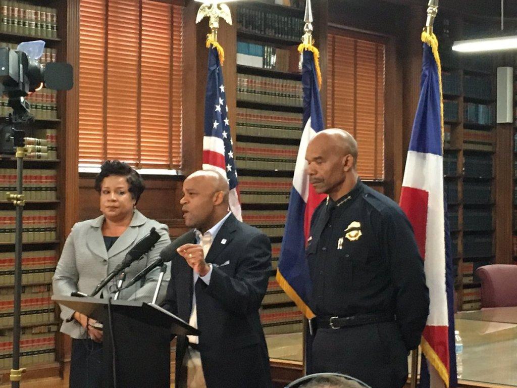Mayor Michael Hancock speaks in response to a violent week in the U.S. (Erica Meltzer/Denverite)