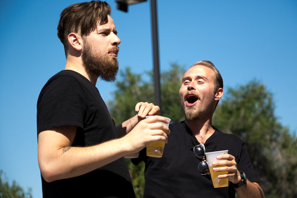"""The Wit Theatre Company performed """"Much A Brew About Nothing"""" at Fiction Beer Company. (Chloe Aiello/Denverite)"""