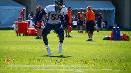 Von Miller runs drills at Denver Broncos Training Camp. (Kevin J. Beaty/Denverite)  broncos; football; training camp; sports; kevinjbeaty; denver; denverite; colorado;