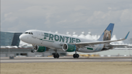 A Frontier Airlines plan at Denver International Airport. (Courtesy of Frontier Airlines)