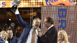 "Executive Vice President of Football Operations/ General Manager John Elway announces the Lombardi Trophy is ""for Pat"" after defeated  the Carolina Panthers in Super Bowl 50 at Santa Clara, Calif.  February 7, 2016 (Photo by Eric Lars Bakke/ Denver Broncos)"