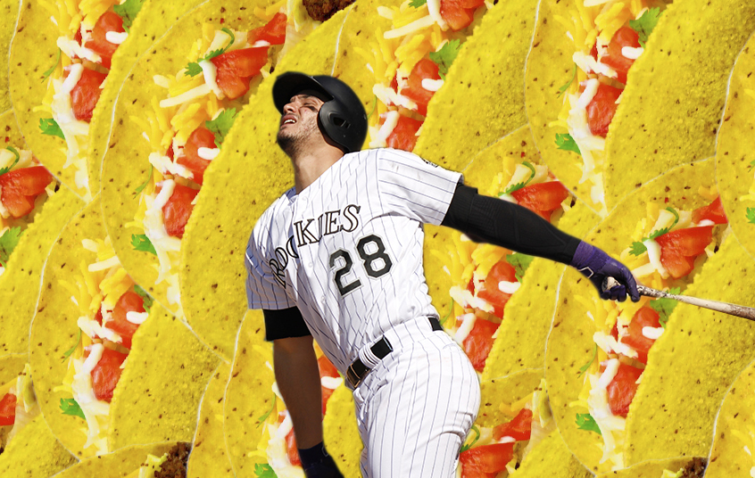 Nolan Arenado and a bunch of tacos. (Kevin J. Beaty/Denverite)  rockies; colorado; baseball; denver; coors field; kevinjbeaty; denverite;