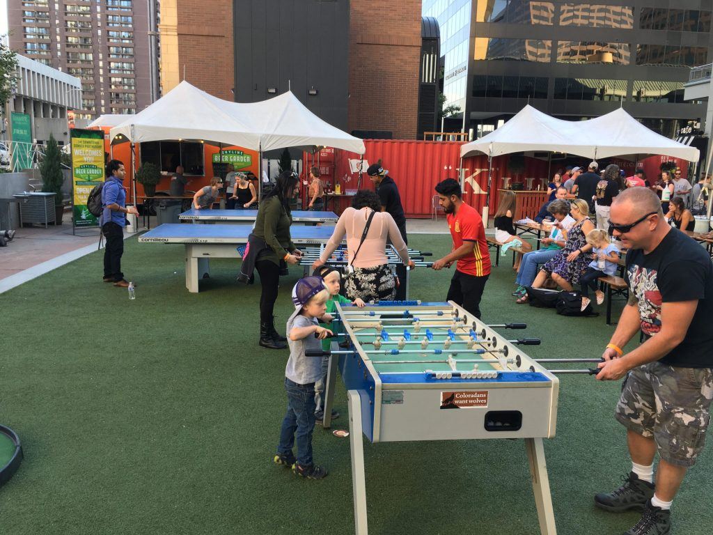 Foosball and other games at the beer garden at Skyline Park in downtown Denver. (Dave Burdick/Denverite)