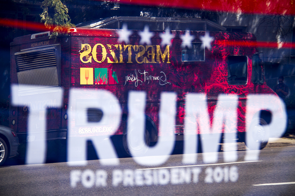 A taco truck parked in protest in front of the Denver Trump campaign headquarters on Sept. 2, 2016. (Kevin J. Beaty/Denverite)  food; tacos; politics; donald trump; hillary clinton; hispanic; protest; election; vote; kevinjbeaty; denverite; denver; colorado;