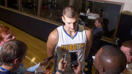 Center Nikola Jokić speaks to reporters at the Denver Nuggets press day, Sept. 26, 2016. (Kevin J. Beaty/Denverite)  pepsi center; nuggets; basketball; sports; kevinjbeaty; denver; colorado; denverite;
