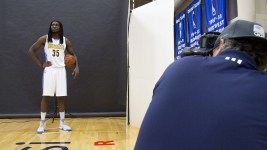 Power forward Kenneth Faried gets his photo taken at the Denver Nuggets press day, Sept. 26, 2016. (Kevin J. Beaty/Denverite)  pepsi center; nuggets; basketball; sports; kevinjbeaty; denver; colorado; denverite;