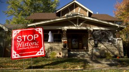 A sign showing opposition to the historic designation of Park Hill. (Kevin J. Beaty/Denverite)  copolitics; park hill; denver; colorado;