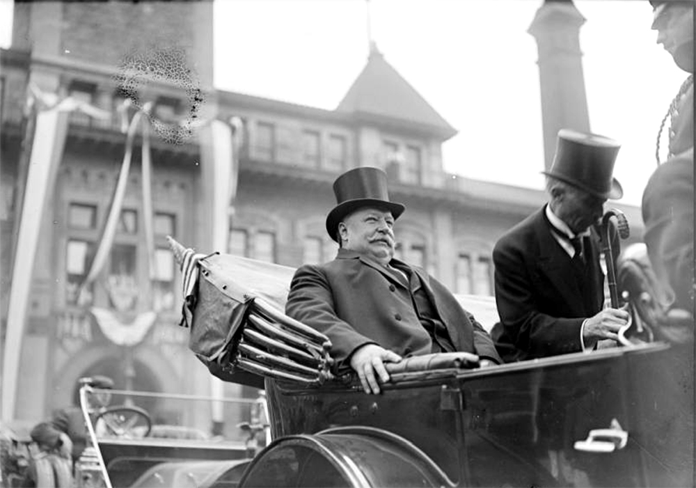 President William Howard Taft seated in the back of a convertible automobile on a visit to Denver, Colorado. October 3, 1911. (Harry Mellon Rhoads/Denver Public Library/Western History Collection/Rh-5817)  historic; denver public library; dpl; archive; archival; denverite