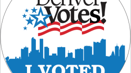"The ""I Voted"" stickers the Denver Elections Division is handing out. (Courtesy of the city of Denver)"