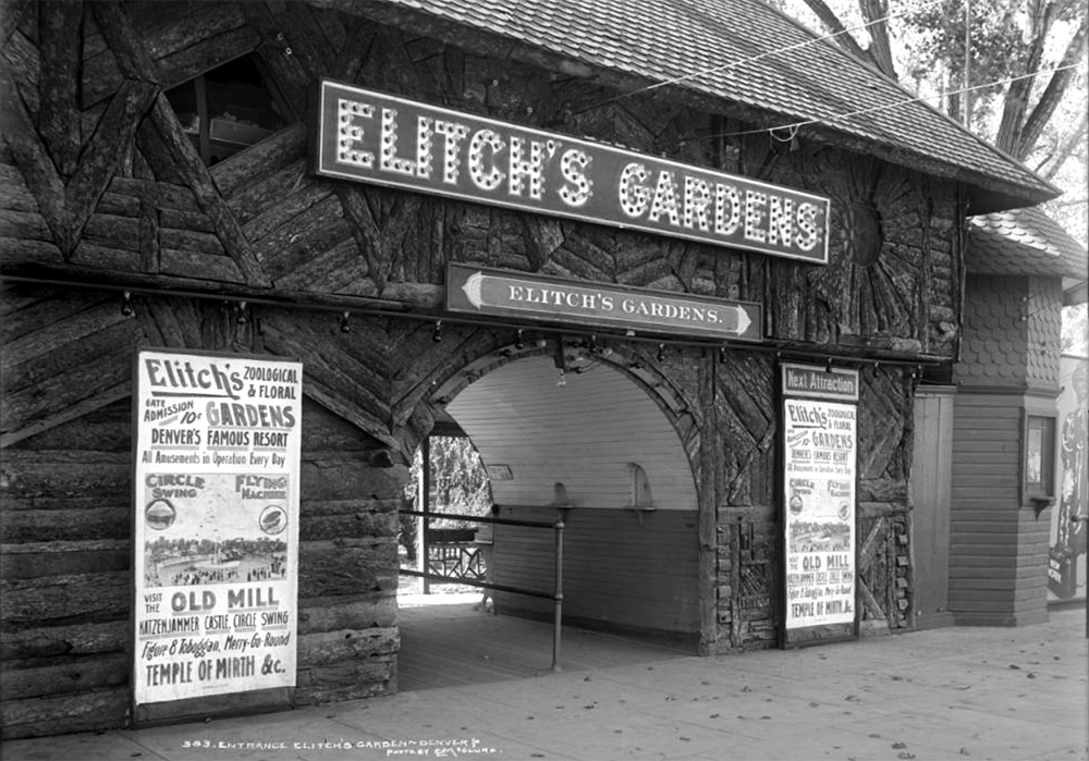 View of main entrance to Elitch's Gardens, West 38th (Thirty- eight) Avenue and Tennyson Street, Denver, Colorado; shows Elitch's Gardens' name in lights over sign. Between 1900 and 1909. (Louis Charles McClure/Denver Public Library/Western History Collection/MCC-383)  historic; denver public library; dpl; archive; archival; denverite