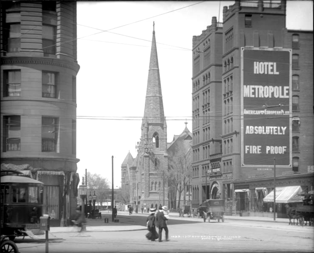 View towards Trinity Methodist Church, Hotel Metropole and edge of Brown Palace on Broadway from 17th (Seventeenth) Avenue, Denver, Colorado. Between 1911 and 1920. (Louis Charles McClure/Denver Public Library/Western History Collection/MCC-1055)  historic; denver public library; dpl; archive; archival; denverite