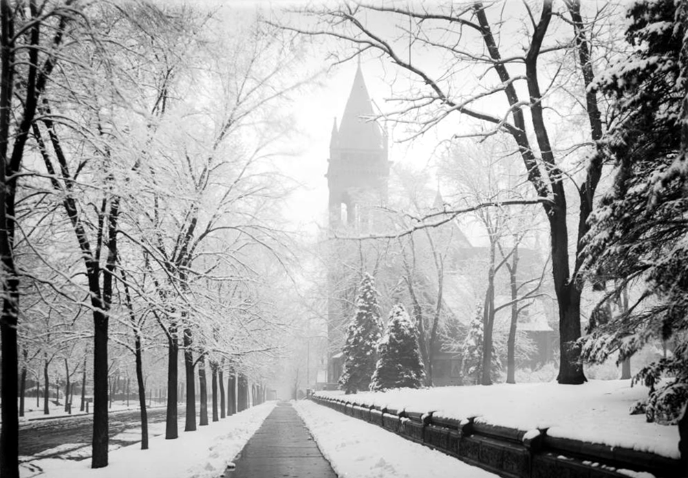 View of snowy Sherman Avenue towards Central Presbyterian Church (17th and Sherman, formerly called First Presbyterian). 1913. (Louis Charles McClure/Denver Public Library/Western History Collection/MCC-1905)  historic; denver public library; dpl; archive; archival; denverite