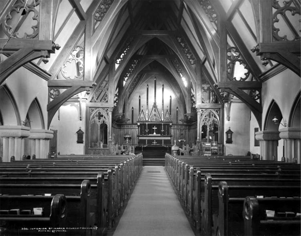 Interior view of Saint Mark's Episcopal Church, 12th (Twelfth) and Lincoln. Between 1890 and 1900. (Louis Charles McClure/Denver Public Library/Western History Collection/MCC-396)  historic; denver public library; dpl; archive; archival; denverite