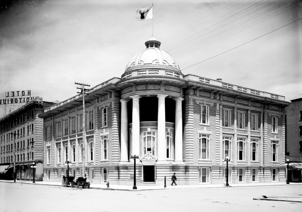 Exterior view of Benevolent & Protective Order of Elks, Lodge Number 17, 14th (Fourteenth) & California. Between 1912 and 1917. (Louis Charles McClure/Denver Public Library/Western History Collection/MCC-1670)historic; denver public library; dpl; archive; archival; denverite