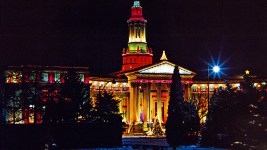 The City and County building, illuminated in 1965. (Denver Public Library/Western History Collection/Series 3 Photographs/Photobox 1)  archive; library; historic; denver; denverite; colorado