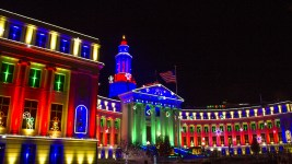 The Denver City and County Building lit up for the holidays. Nov. 16, 2016.