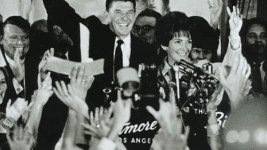 Ronald and Nancy Reagan celebrate his gubernatorial victory at the Biltmore Hotel, Los Angeles. (Public Domain)