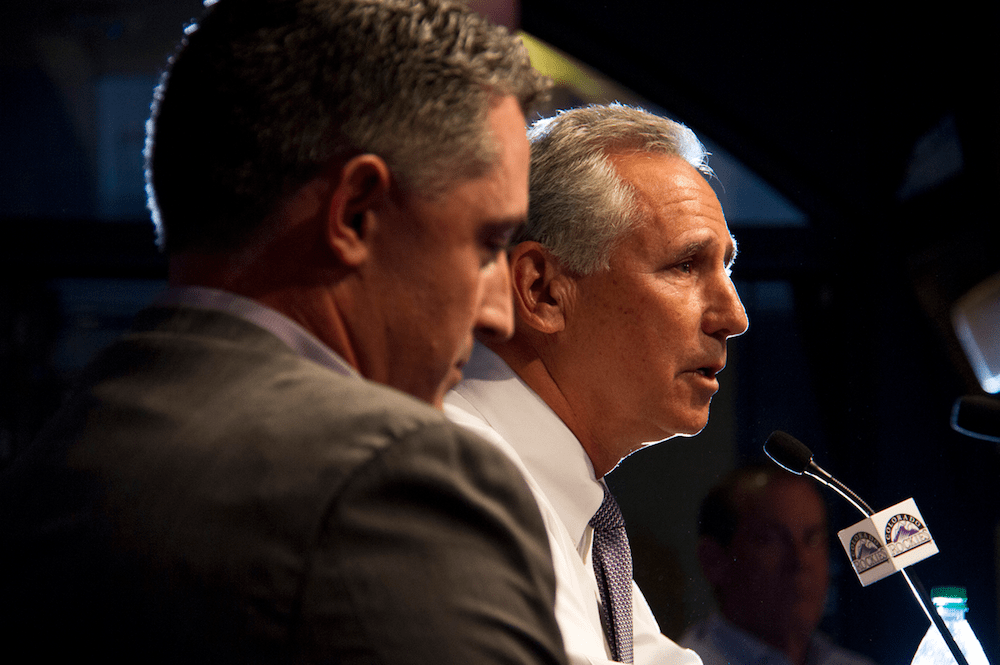 Rockies general manager Jeff Bridich, left, and manager Bud Black made it clear: A playoff appearance in 2017 is the goal. (Kevin J. Beaty/Denverite)